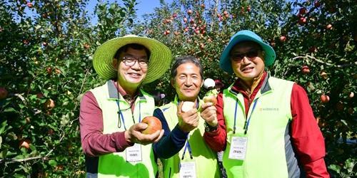 이대훈, NH농협은행 최우수고객과 사과 수확 돕기 봉사활동