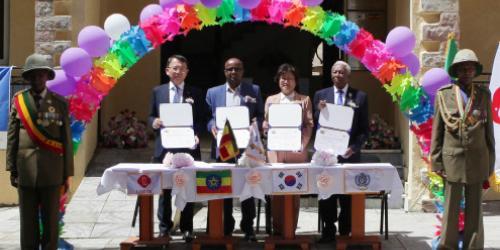 롯데, 에티오피아에 한국전쟁 참전용사 복지회관 세우고 장학금 전달