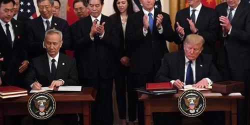 """""""미국 중국 1단계 무역합의 서명, 트럼프"""