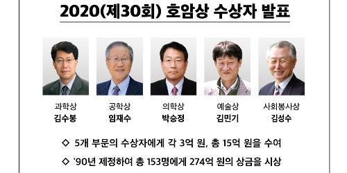 """""""제30회 삼성 호암상에 김수봉 임재수 박승정 김민기 김성수"""