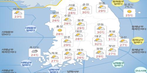 """""""'소서' 7일 화요일 일부 지역에 소나기, 낮 최고기온 32도"""