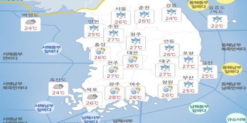 """""""금요일 10일 전국 장마 영향에 비, 낮기온 30도 이하로 낮아져"""