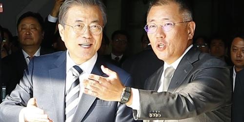 """""""정의선, 문재인 주재 한국판 뉴딜 보고대회에서 그린뉴딜 비전 발표"""