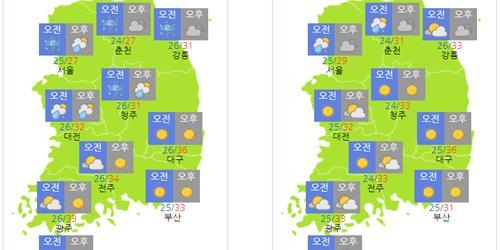 주말 15일 수도권 중심 강한 비, 휴일 16일까지 폭염 이어져