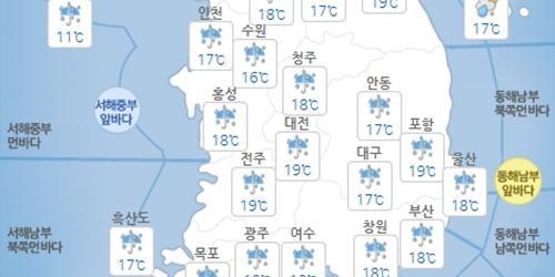 19일 목요일 전국적으로 강한 비, 밤에 비 그치고 기온 떨어져