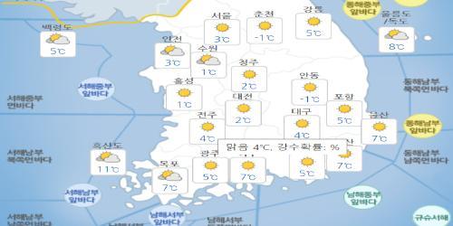 목요일 26일 대체로 맑지만 강원 밤부터 비, 서울 아침 최저기온 3도