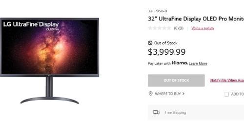 """""""LG전자 미국에서 올레드 모니터 32인치 내놔, 가격 3999 달러"""